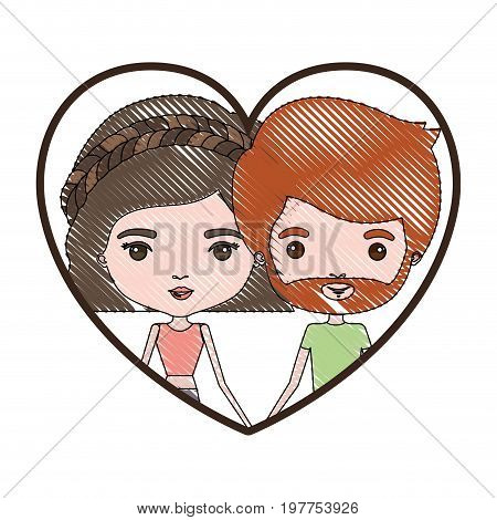 heart shape portrait with color crayon silhouette caricature couple of him with short red hair and beard and her with pants and wavy short hairstyle vector illustration