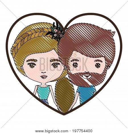 heart shape portrait with color crayon silhouette caricature couple of him with short brown hair and beard and her with ponytail blond hairstyle and floral crown accesory vector illustration