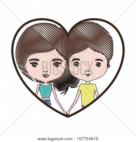 heart shape portrait with color crayon silhouette caricature couple and both with brown hair and her with collected hair vector illustration