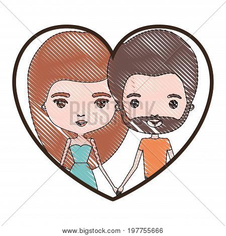 heart shape portrait with color crayon silhouette caricature couple of her with dress and long red hair and him with brown hair and beard vector illustration