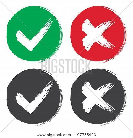Tick and cross brush signs. Green checkmark OK and red X icons isolated on white background. Simple marks graphic design. Symbols YES and NO button for vote decision web. Vector illustration