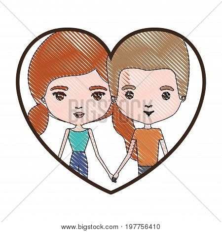 heart shape portrait with color crayon silhouette caricature couple and both with pants and her with red hair with pigtails vector illustration