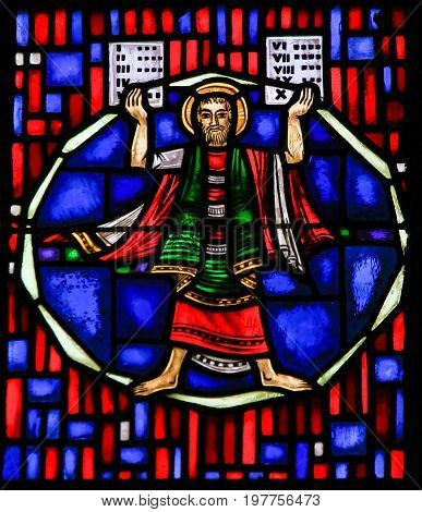 Stained Glass In Worms - Moses And The Ten Commandments