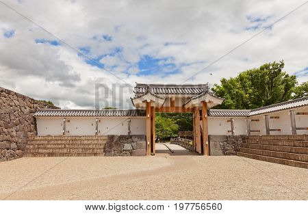 YAMAGATA JAPAN - MAY 28 2017: Reconstructed (2014) Ichimonji Gate of Main Bailey of Yamagata Castle Japan. Castle founded in 1356 abandoned in 1868 and designated national historical site in 1986