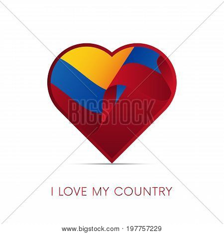 Colombia flag in heart. I love my country. sign. Vector illustration.