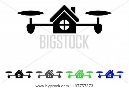 Air House flat vector pictograph. Colored air house gray, black, blue, green icon variants. Flat icon style for application design.