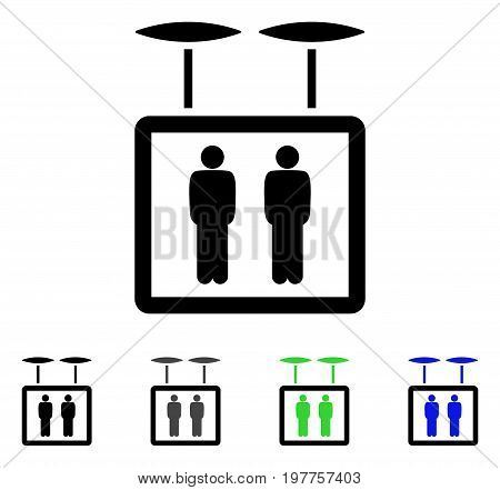 Airdrone Elevator flat vector icon. Colored airdrone elevator gray, black, blue, green pictogram variants. Flat icon style for application design.