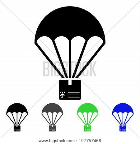 Cargo Parachute flat vector pictograph. Colored cargo parachute gray, black, blue, green icon variants. Flat icon style for web design.