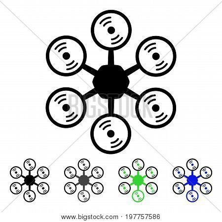 Multirotor flat vector illustration. Colored multirotor gray, black, blue, green pictogram variants. Flat icon style for graphic design.
