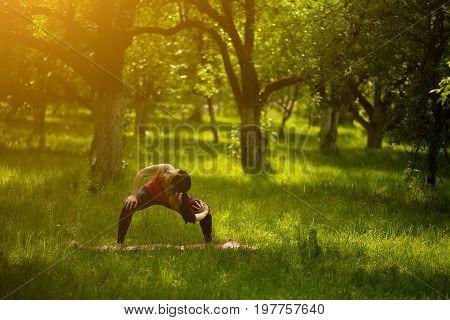 Woman in nature standing in yoga asana. Goddes yoga pose with twisting. Female doing Utkata Konasana. Toned image.