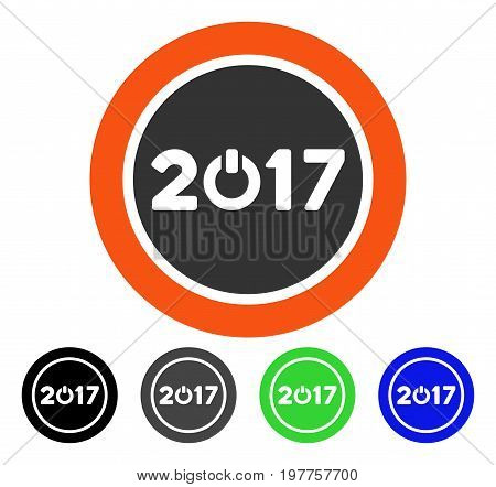 2017 Button flat vector pictograph. Colored 2017 button gray, black, blue, green pictogram variants. Flat icon style for graphic design.