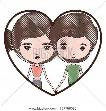 heart shape portrait with color crayon silhouette caricature couple and both with brown hair and pants and her with bun hair and him with beard vector illustration