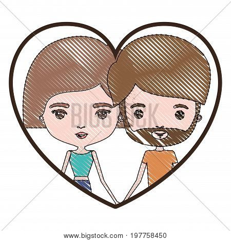 heart shape portrait with color crayon silhouette caricature couple and both with light brown hair and pants and her with short hair and him with beard vector illustration