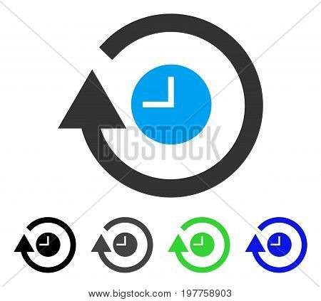 Repeat Clock flat vector icon. Colored repeat clock gray, black, blue, green pictogram versions. Flat icon style for application design.