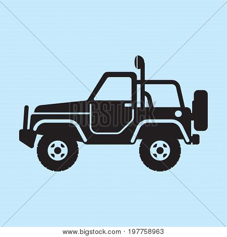 Off road vehicle car for bad roads. Extreme Sports - 4x4 Sports Utility Vehicle SUV. Vector Illustration