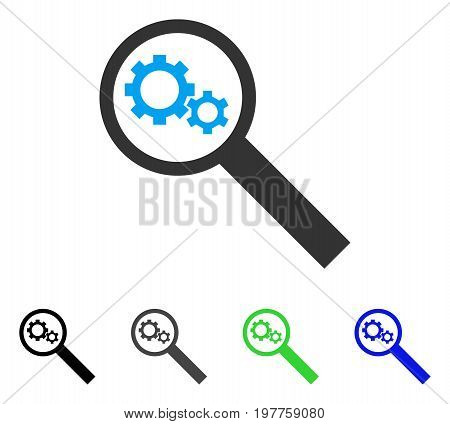 Search Tools flat vector pictogram. Colored search tools gray, black, blue, green pictogram variants. Flat icon style for application design.