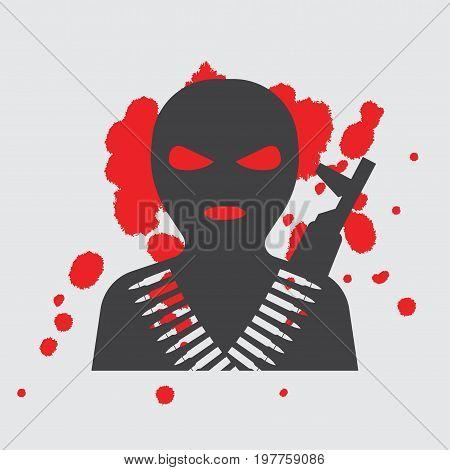 Terrorist in balaclava mask icon. vector illustrator