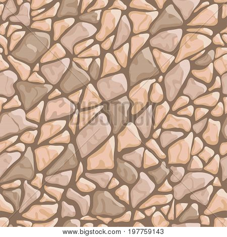 Paving tile floor covering pavement slabs brick wall stone old vintage seamless pattern background texture. Vector closeup beautiful square horizontal illustration top view brown rock