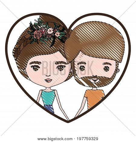 heart shape portrait with color crayon silhouette caricature couple and both with brown hair and her with collected hair and floral crown and him with beard vector illustration