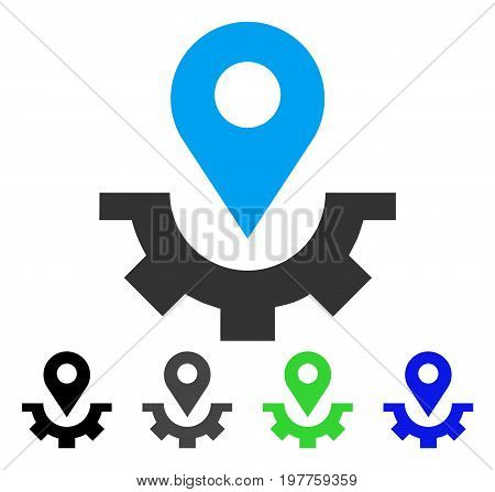 Service Map Marker flat vector pictogram. Colored service map marker gray, black, blue, green pictogram versions. Flat icon style for application design.