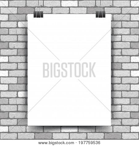 Vector illustration of a white poster hanging on a clerical clip on a white brick wall background