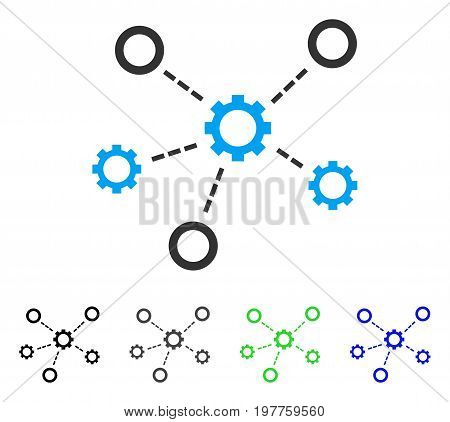 Service Relations flat vector pictogram. Colored service relations gray, black, blue, green icon variants. Flat icon style for web design.