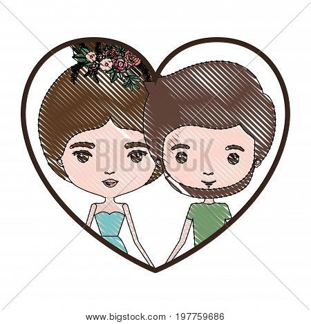 heart shape portrait with color crayon silhouette caricature couple and both with brown hair and her in dress with collected hair and floral crown and him bearded vector illustration