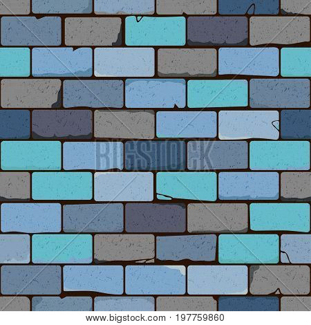 Distressed overlay texture of old brickwork grunge background. Abstract vector illustration. Seamless brick wall pattern in shades of blue