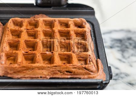 Belgium Waffles Freshly Made At Home In The Waffle Maker
