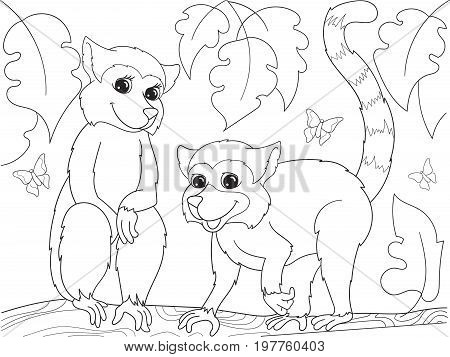 Childrens coloring book cartoon family of lemurs on nature. For adults vector illustration. Anti-stress for adult. Black and white lines