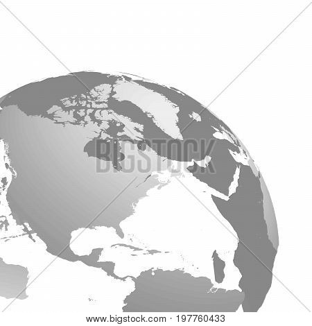 3D planet Earth globe. Transparent sphere with grey land silhouettes. Cropped and focused on North America.