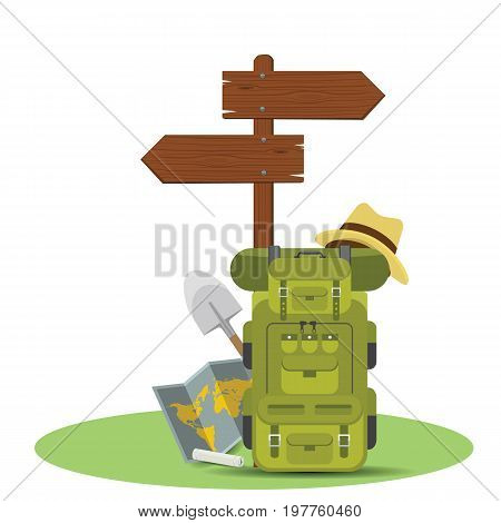 Vector wooden directional signpost or arrow with backpacks. Camping concept illustrated vector design.