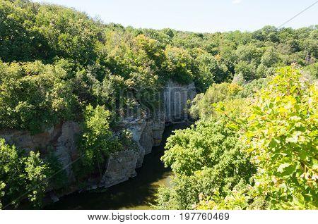 Canyon in Buki, Ukrainian landscape with rocks