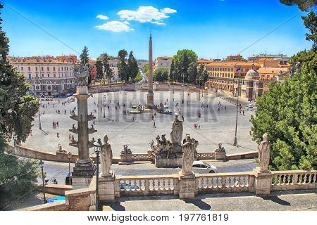 Piazza del Popolo (People's Square) named after the church of Santa Maria del Popolo in Rome, Italy. View from above.