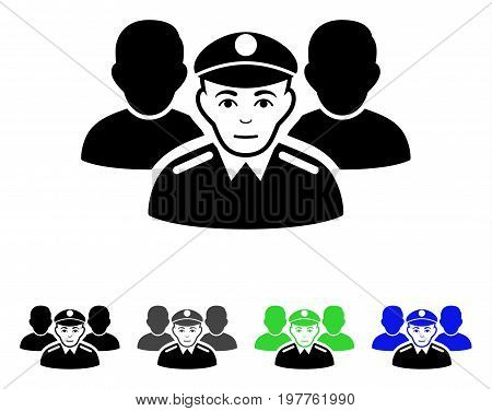 Army Team flat vector pictograph. Colored army team gray, black, blue, green pictogram variants. Flat icon style for application design.