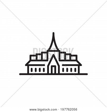 Vector icon Asian pagoda in linear style isolated on white background. Architectural the building is a symbol of Buddhist temple