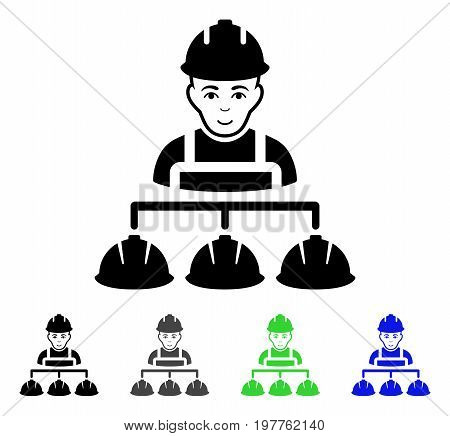 Builder Management flat vector pictograph. Colored builder management gray, black, blue, green pictogram variants. Flat icon style for web design.