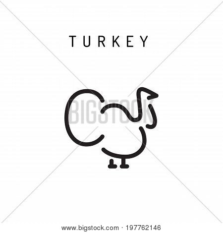 Turkey vector icon in a linear minimalist style for web, mobile and infographics. Turkey icon isolated on white background.