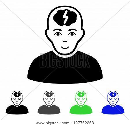 Clever Boy flat vector icon. Colored clever boy gray, black, blue, green pictogram versions. Flat icon style for graphic design.