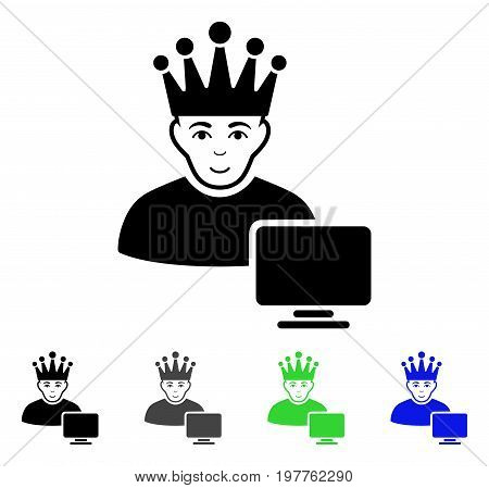 Computer Moderator flat vector pictogram. Colored computer moderator gray, black, blue, green pictogram variants. Flat icon style for application design.