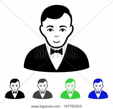 Dealer flat vector illustration. Colored dealer gray, black, blue, green pictogram versions. Flat icon style for graphic design.