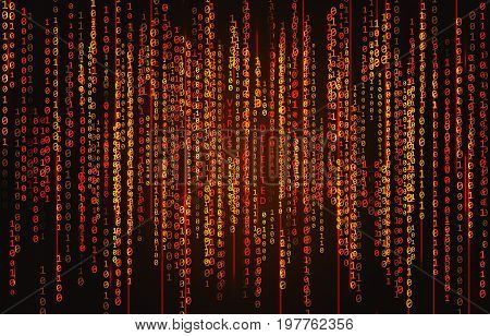 Binary code background with text Virus Detected