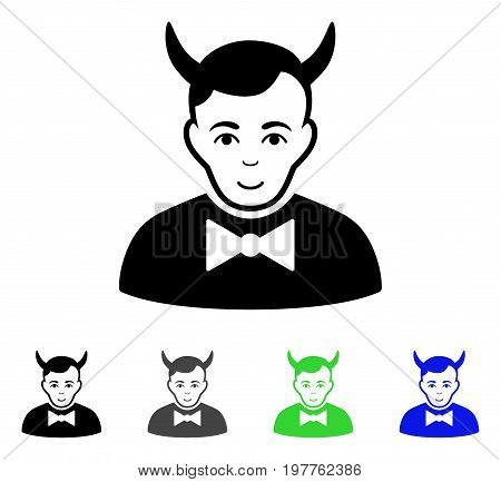 Devil flat vector pictogram. Colored devil gray, black, blue, green icon variants. Flat icon style for graphic design.