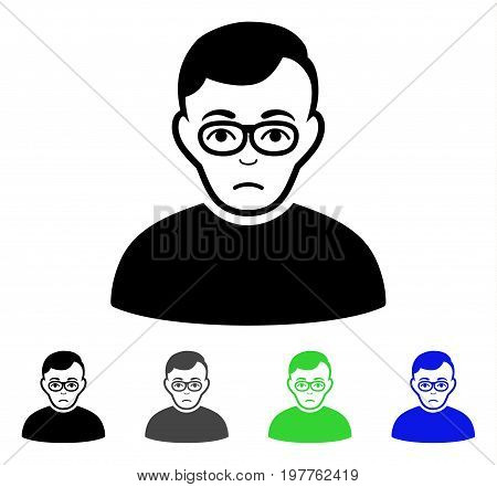 Downer flat vector illustration. Colored downer gray, black, blue, green pictogram variants. Flat icon style for application design.