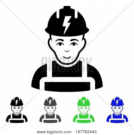 Electrician flat vector pictograph. Colored electrician gray, black, blue, green icon versions. Flat icon style for graphic design.
