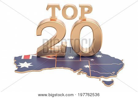 Australian Top 20 concept 3D rendering isolated on white background
