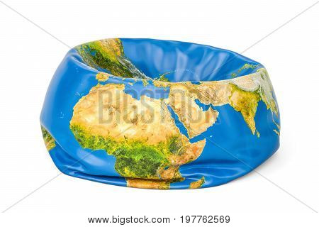 Deflated Earth Globe 3D rendering isolated on white background