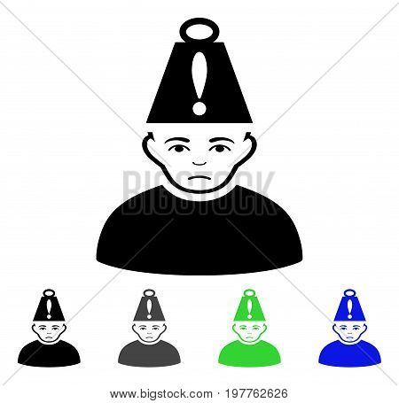 Head Stress flat vector illustration. Colored head stress gray, black, blue, green pictogram variants. Flat icon style for graphic design.
