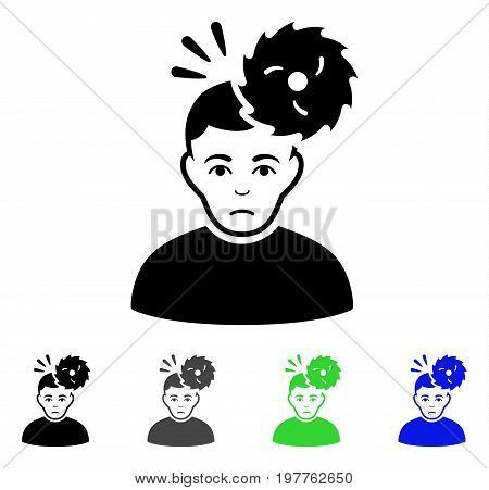 Headache flat vector illustration. Colored headache gray, black, blue, green pictogram versions. Flat icon style for graphic design.