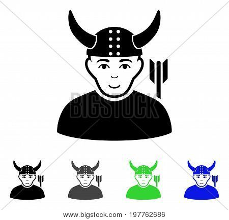 Horned Warrior flat vector icon. Colored horned warrior gray, black, blue, green icon variants. Flat icon style for application design.
